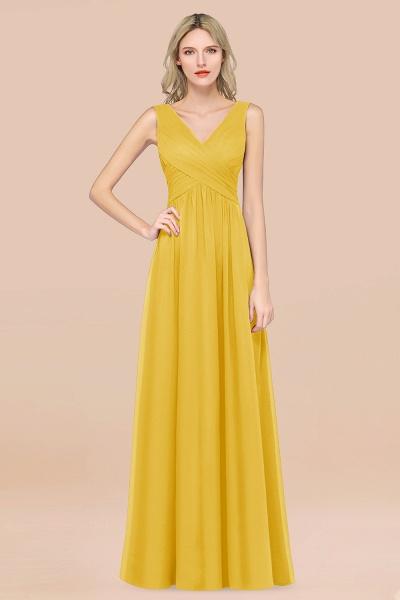 A-Line Chiffon Straps V-Neck Sleeveless Floor-Length Bridesmaid Dress with Ruffles_17