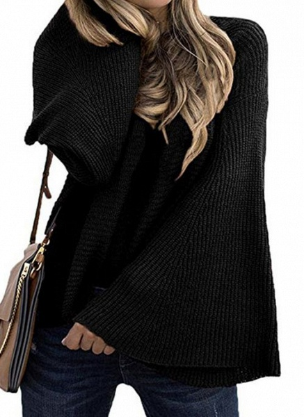 Round Neckline Solid Casual Loose Regular A-line Sweaters_4