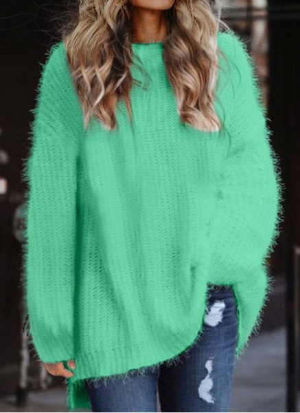 Round Neckline Solid Casual Loose Long A-line Sweaters_5