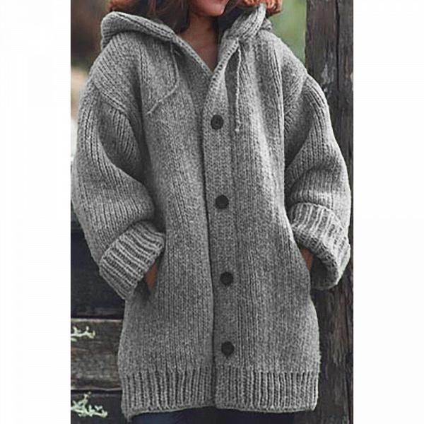 Women Long Cardigan Solid Hooded Sweater_9