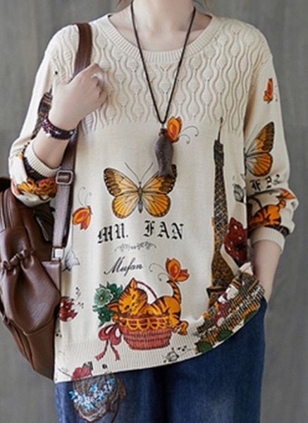 Round Neckline Animal Casual Loose Regular Shift Sweaters_1