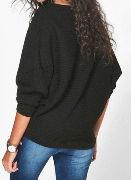 Boat Neckline Solid Casual Loose Regular Shift Sweaters_6