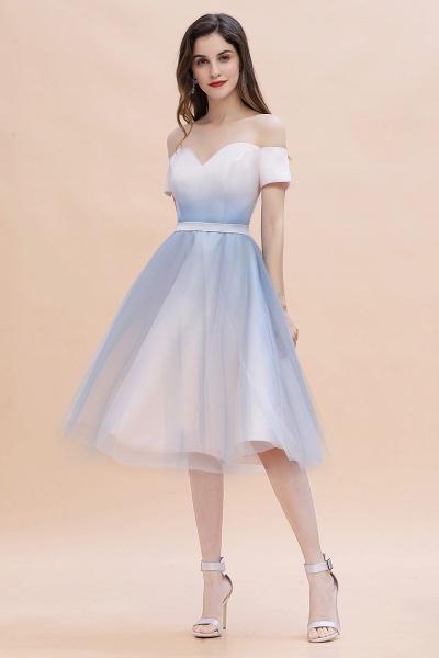 Off Shoulder Sweetheart Gradient A-line Evening Dress Tea Length_2