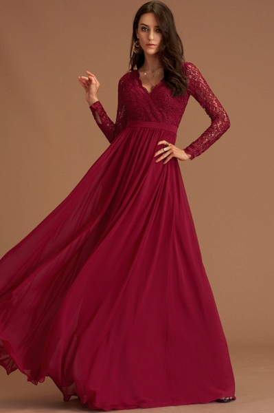 A-Line V-neck Floor-Length Chiffon Evening Dress With Lace_2