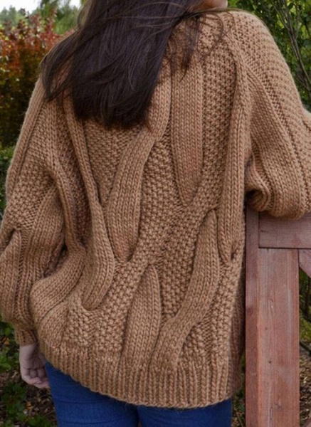 Round Neckline Solid Casual Loose Regular Shift Sweaters_13