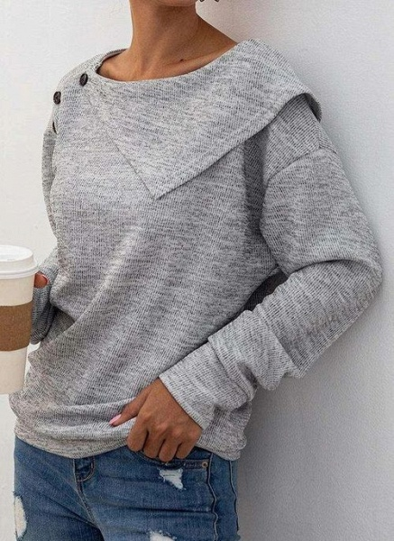 Round Neckline Solid Casual Loose Regular Buttons Sweaters_3