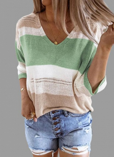 V-Neckline Color Block Casual Loose Regular Shift Sweaters_1