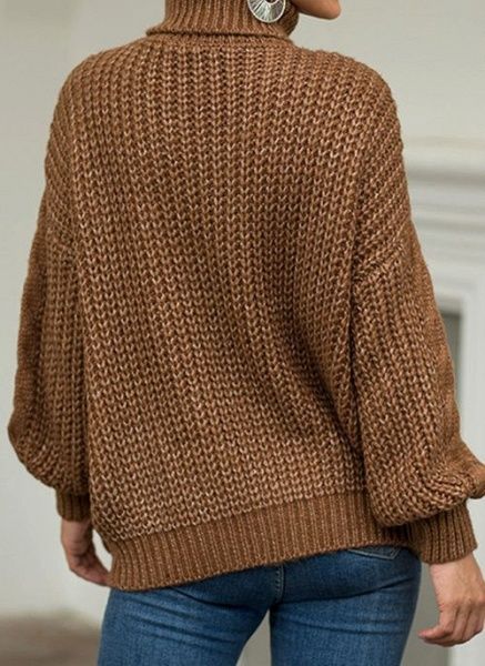 High Neckline Solid Casual Loose Regular Shift Sweaters_8