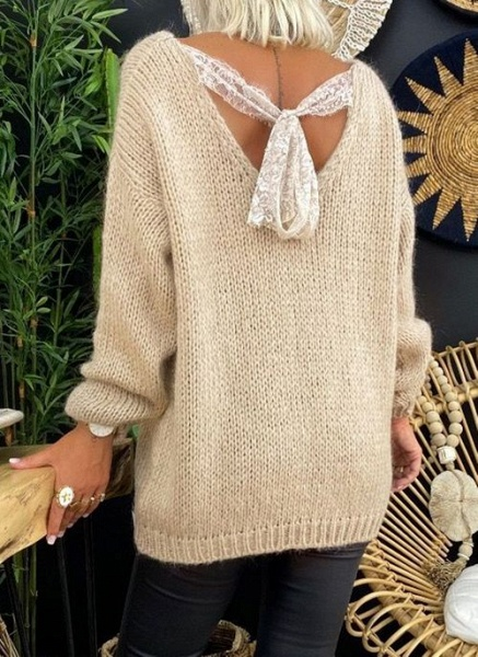 V-Neckline Solid Casual Loose Regular Lace Sweaters_6