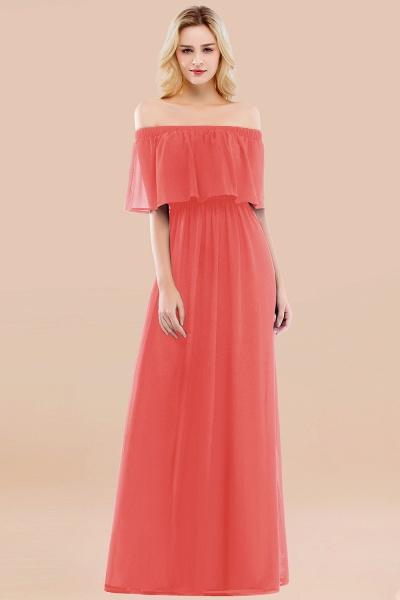 A-line Chiffon Off-the-Shoulder Short-Sleeves Ruffles Floor-length Bridesmaid Dress_7