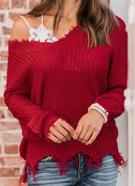 V-Neckline Solid Casual Loose Regular Tassel Sweaters_2