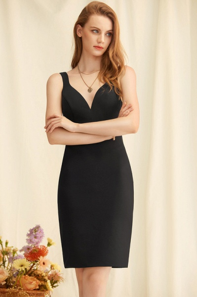 Sheath/Column V-neck Stretch Crepe Cocktail Dress_1
