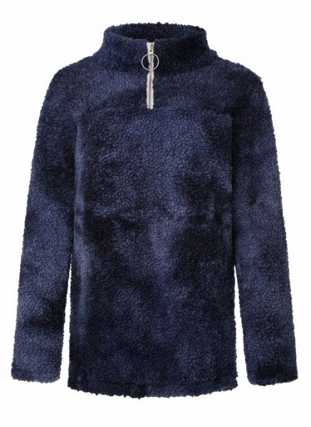 High Neckline Color Block Casual Loose Regular Zipper Sweaters_2