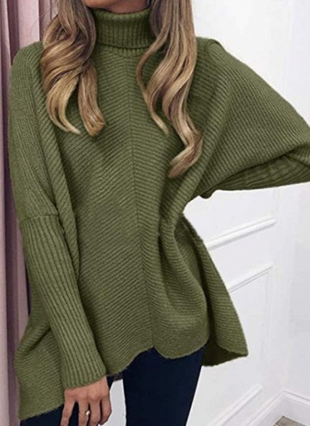 High Neckline Solid Casual Loose Regular A-line Sweaters_5