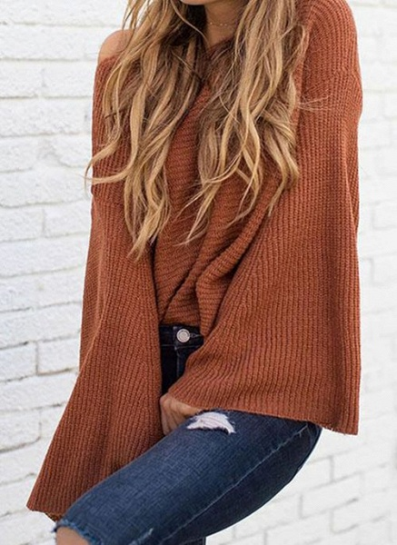 Round Neckline Solid Casual Loose Regular A-line Sweaters_7