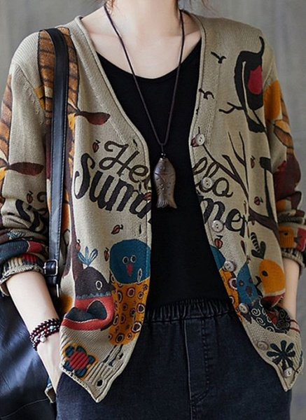 V-Neckline Color Block Casual Loose Regular Buttons Sweaters_6