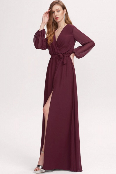 A-Line V-neck Floor-Length Chiffon Prom Dresses With Split Front_4