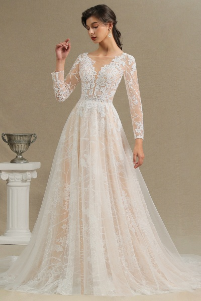 CPH230 Sheer Tulle Long Sleeve A-line Illusion Lace Wedding Dress_6