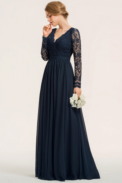 A-Line V-neck Floor-Length Chiffon Lace Evening Dress_1