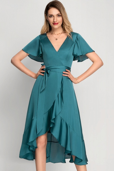 A-Line Asymmetrical Cocktail Dress With Bow(s) Cascading Ruffles_3