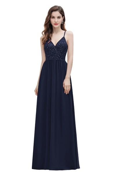 V-Neck Straps A-line Bridesmaid Dress Sequins Evening Dress_3