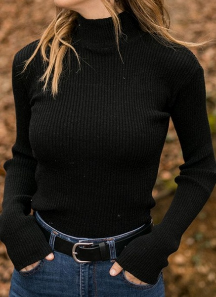 High Neckline Solid Casual Tight Regular Shift Sweaters_2