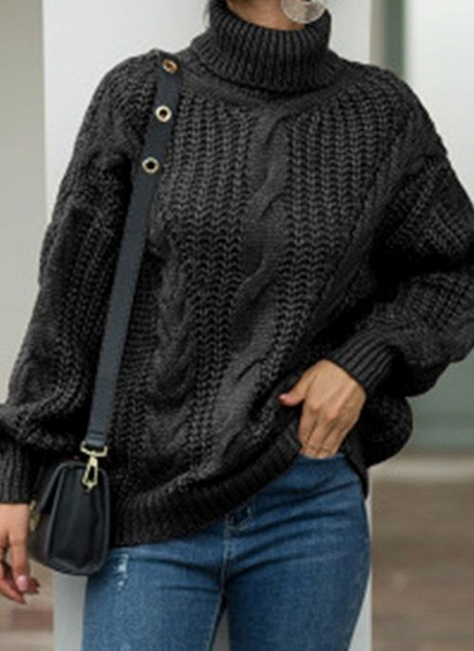 High Neckline Solid Casual Loose Regular Shift Sweaters_5