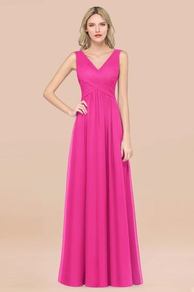 A-Line Chiffon Straps V-Neck Sleeveless Floor-Length Bridesmaid Dress with Ruffles_9