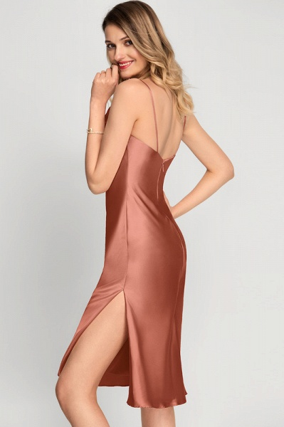 A-Line Cowl Neck Knee-Length Cocktail Dress With Split Front_5