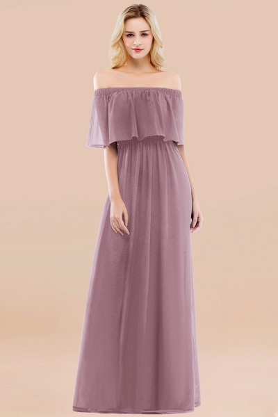A-line Chiffon Off-the-Shoulder Short-Sleeves Ruffles Floor-length Bridesmaid Dress_43