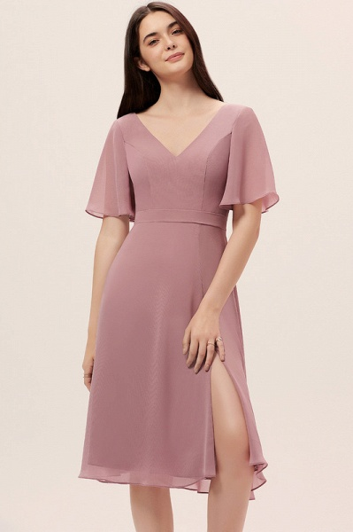 A-Line V-neck Knee-Length Chiffon Cocktail Dress With Split Front_1