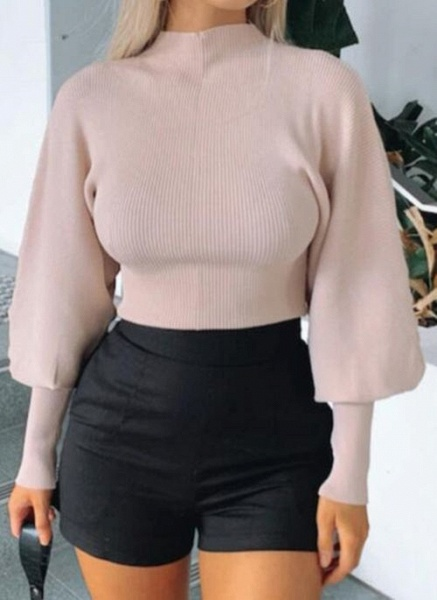 High Neckline Solid Sexy Tight Short X-line Sweaters_2