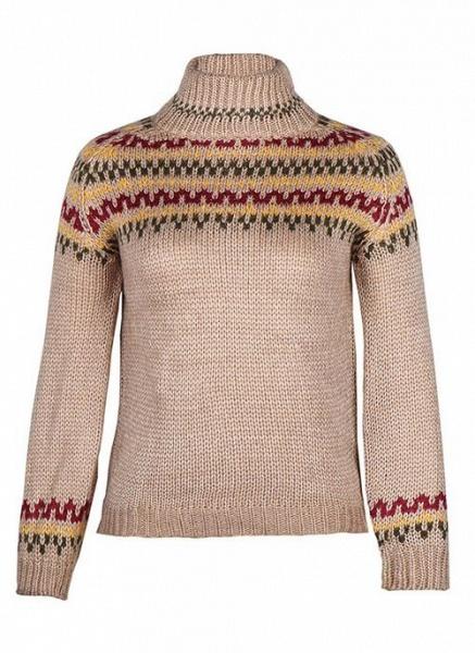 High Neckline Color Block Casual Loose Regular Shift Sweaters_2