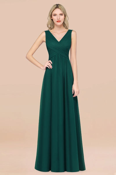 A-Line Chiffon Straps V-Neck Sleeveless Floor-Length Bridesmaid Dress with Ruffles_33