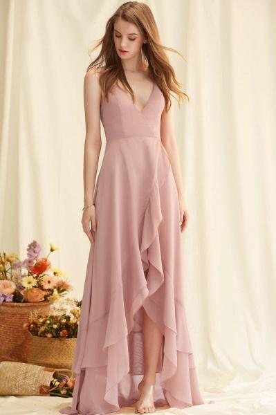 A-Line V-neck Asymmetrical Chiffon Evening Dress With Cascading Ruffles_3