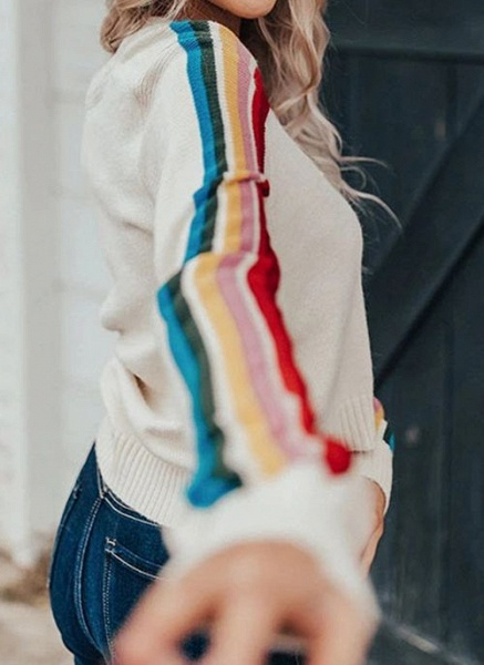 V-Neckline Color Block Sexy Loose Short Buttons Sweaters_4
