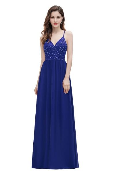 V-Neck Straps A-line Bridesmaid Dress Sequins Evening Dress_12