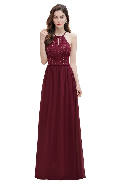 Halter Sequins A-line Chiffon Evening Dress_1