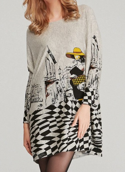 Round Neckline Color Block Casual Loose Long Shift Sweaters_3