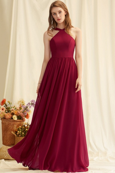 A-Line V-neck Floor-Length Chiffon Evening Dress_2