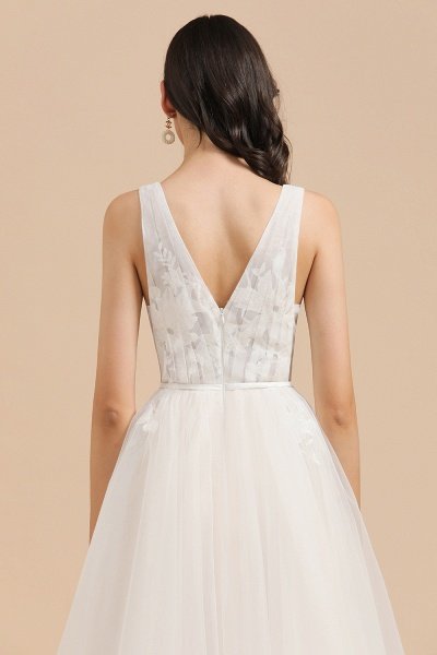 Amazing Illusion Lace Tulle A-line Wedding Dress_5