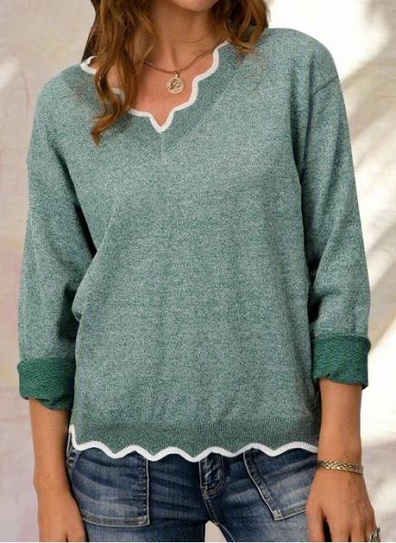 V-Neckline Color Block Casual Loose Regular Shift Sweaters_3