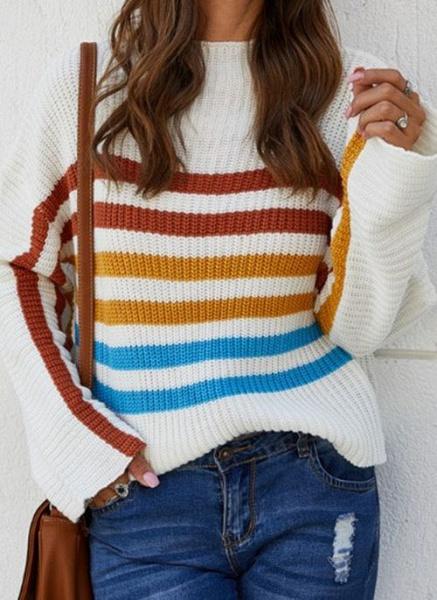 Round Neckline Color Block Casual Loose Regular Shift Sweaters_1