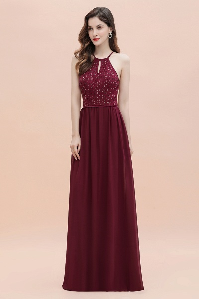 Halter Sequins A-line Chiffon Evening Dress_7