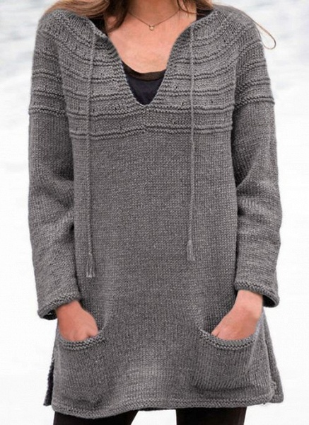 V-Neckline Solid Casual Loose Regular Pockets Sweaters_3