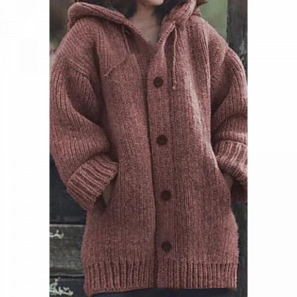 Women Long Cardigan Solid Hooded Sweater_6