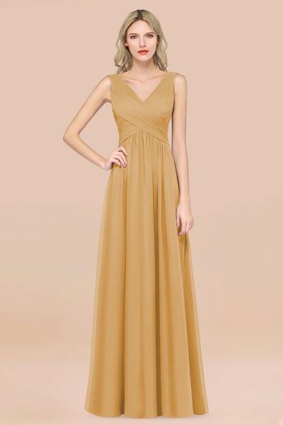 A-Line Chiffon Straps V-Neck Sleeveless Floor-Length Bridesmaid Dress with Ruffles_13
