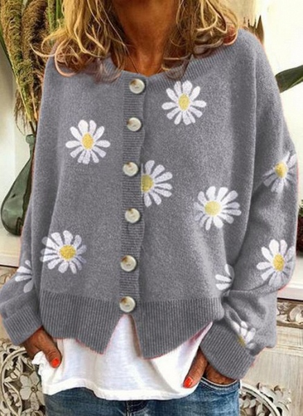 Round Neckline Floral Casual Regular Buttons Sweaters_2
