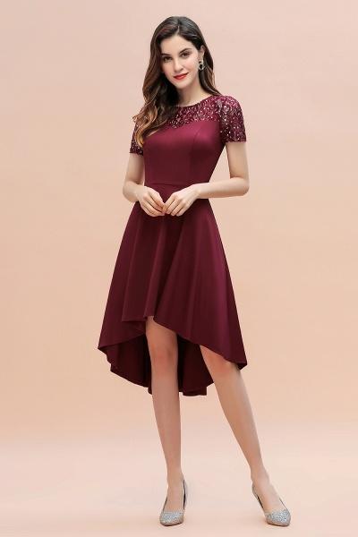 Short Sleeve Sequins Evening Hi-Lo Dress Tea Length Cocktail Dress_7