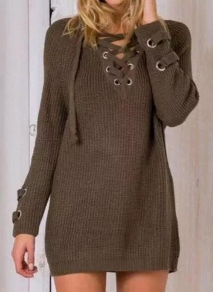 V-Neckline Solid Casual Loose Long Shift Sweaters_5